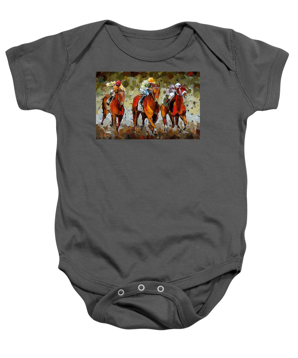 Horses Baby Onesie featuring the painting Close Race by Debra Hurd