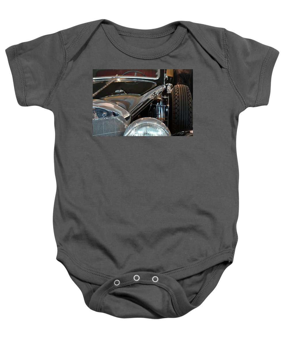 Car Baby Onesie featuring the photograph Close Up On Vintage Black Shining Car by Oana Unciuleanu