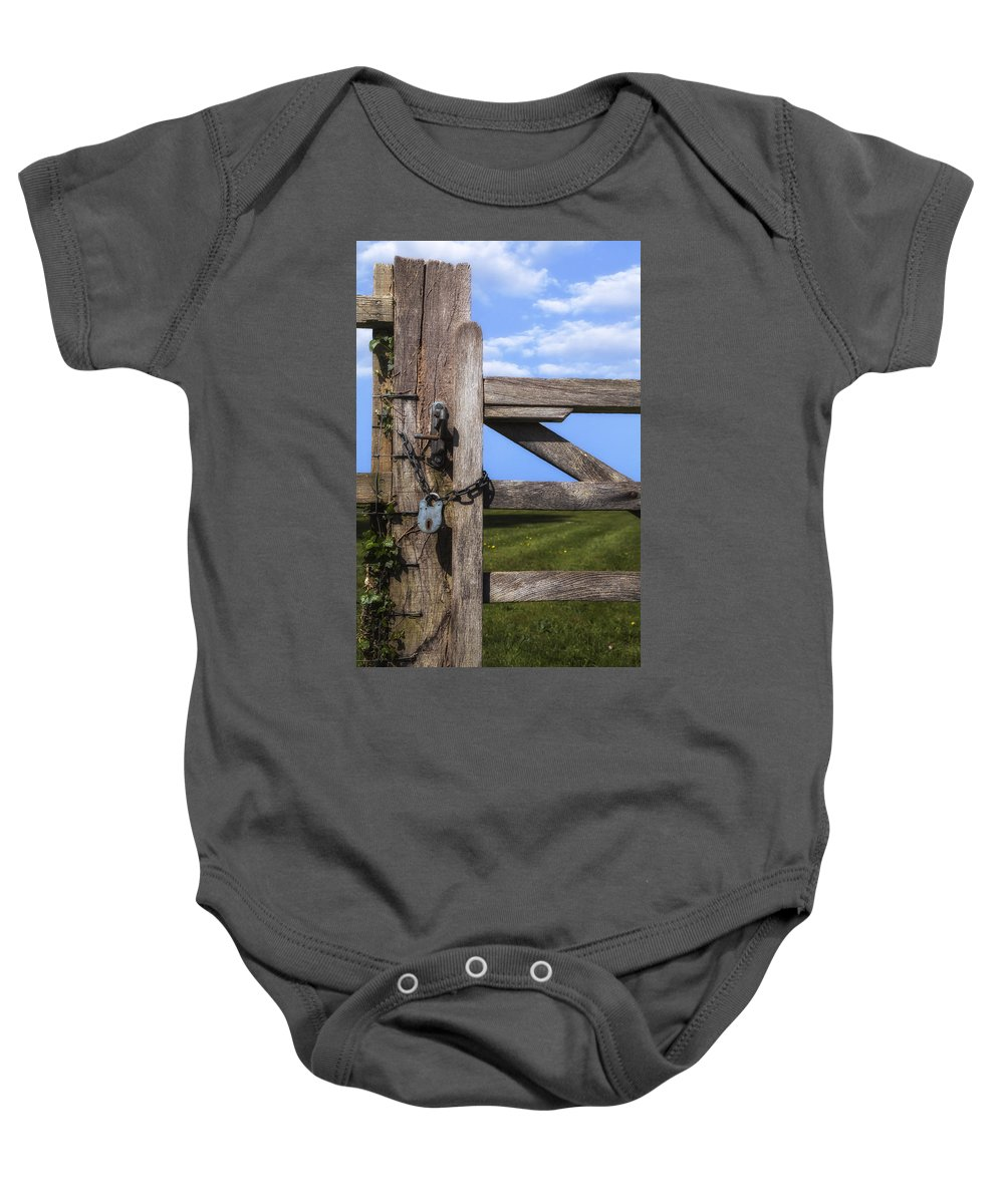 Gate Baby Onesie featuring the photograph Closed Paddock by Joana Kruse