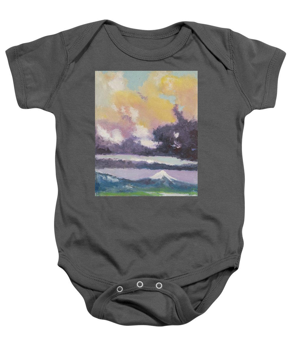 Mountain Baby Onesie featuring the painting Clouds Of Mt Hood by Craig Newland