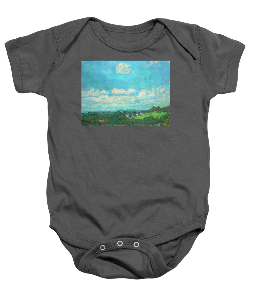 Landscape Baby Onesie featuring the painting Clouds Over Fairlawn by Kendall Kessler