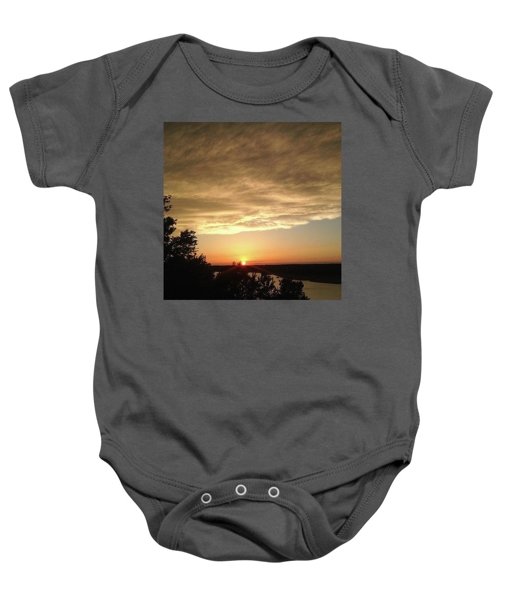 Cloudy Baby Onesie featuring the photograph Cloudy Sunset by Claire Kenney