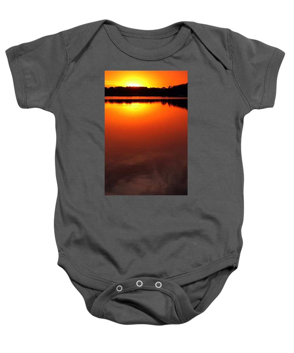 Clay Baby Onesie featuring the photograph Cloudy Sunset by Clayton Bruster