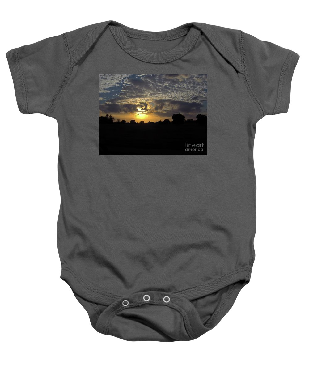 Sunset Baby Onesie featuring the photograph Cloudy Sunset by D Hackett