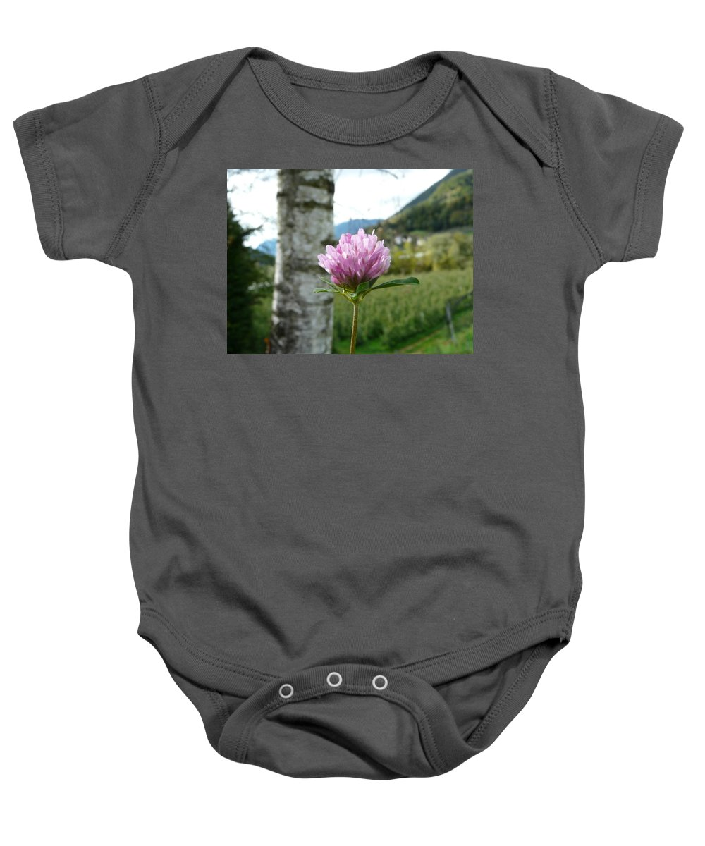 Red Baby Onesie featuring the photograph Clover 2 by Valerie Ornstein