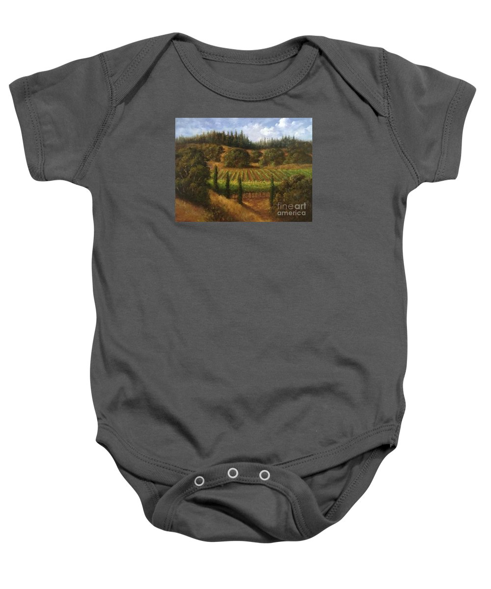 Wine Country Art Baby Onesie featuring the painting Cloverdale Vines by Gail Salitui