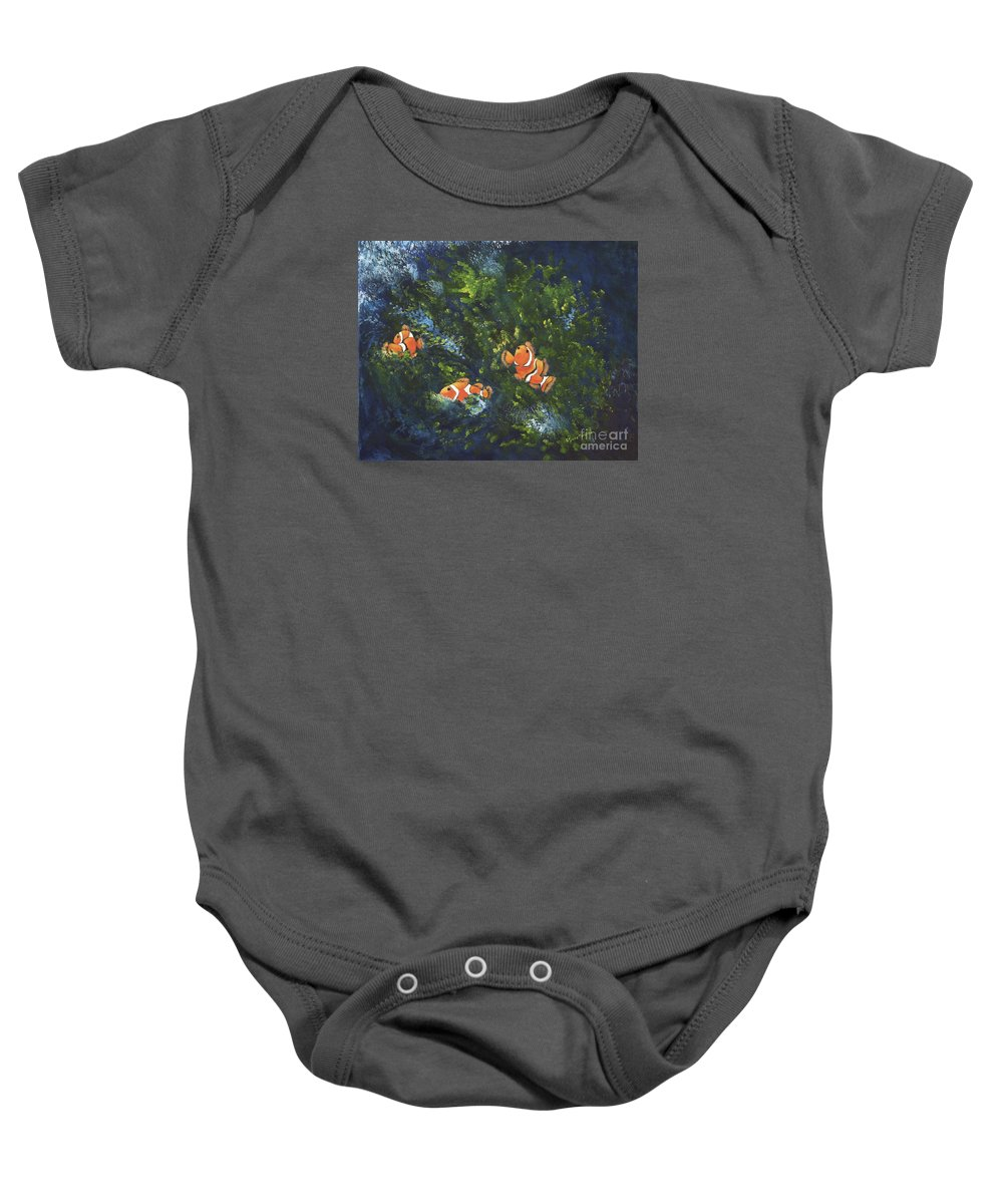 Clown Fish Baby Onesie featuring the painting Clowning Around by Carol Sweetwood