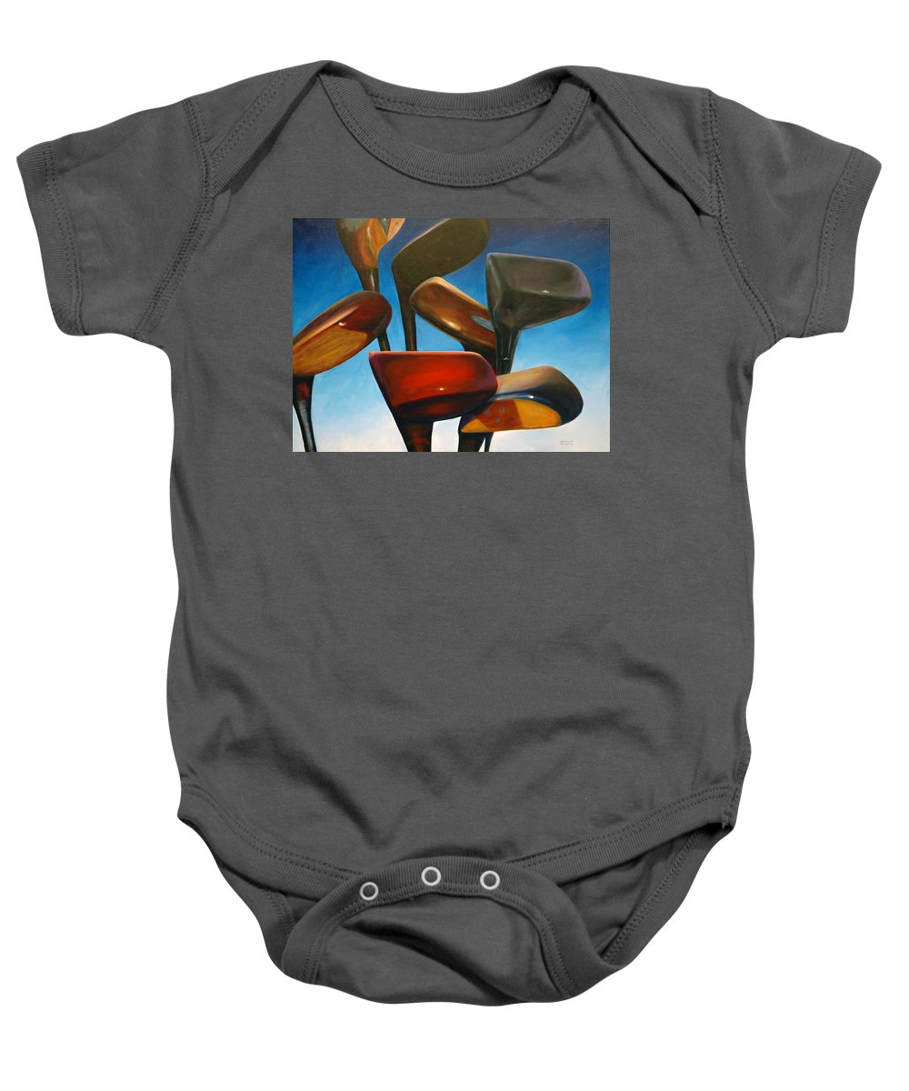 Golf Clubs Brown Baby Onesie featuring the painting Clubs Rising by Shannon Grissom