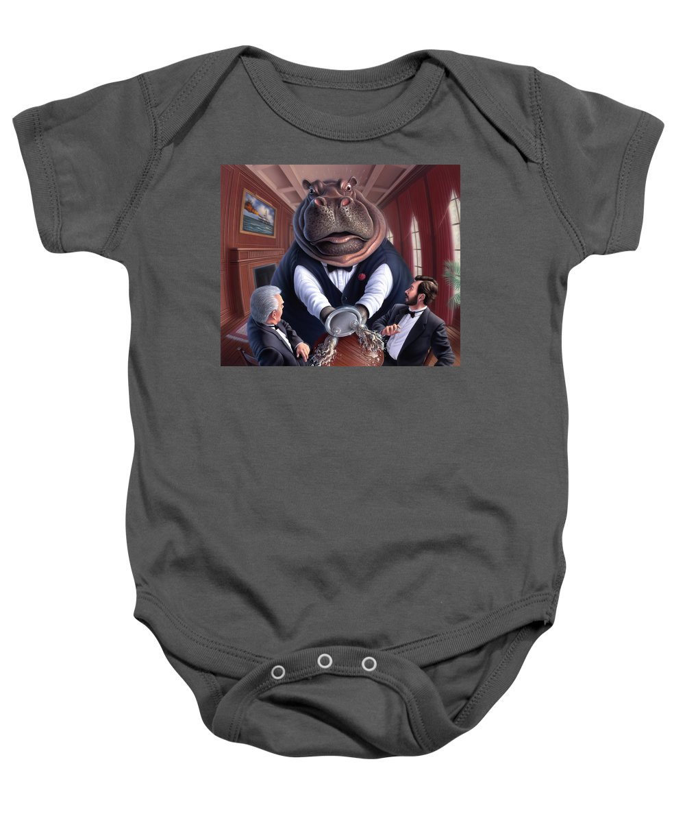 Hippo Baby Onesie featuring the painting Clumsy by Jerry LoFaro