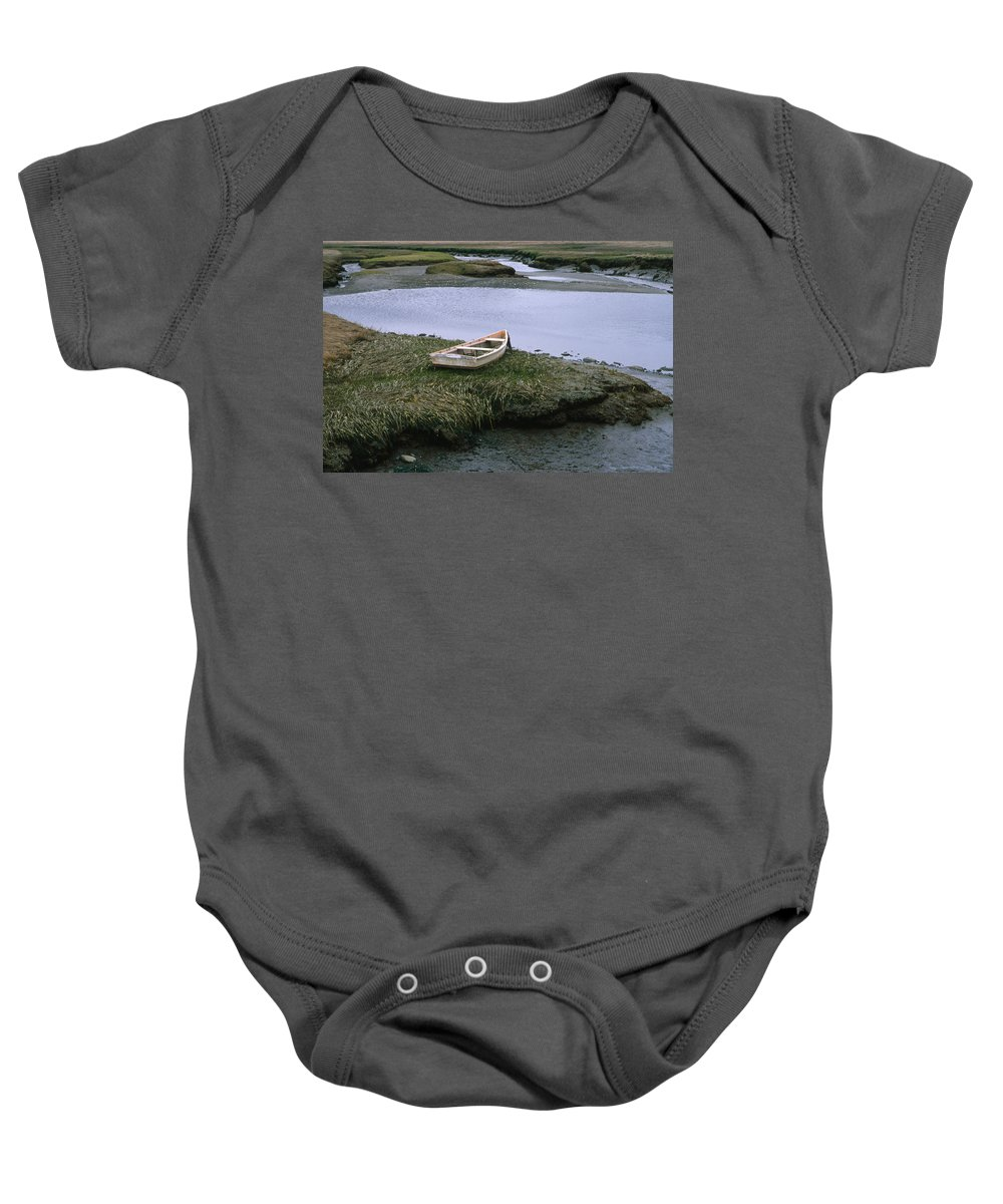 Landscape New England Marsh Row Boat Rye Harbor Baby Onesie featuring the photograph Cnrf0503 by Henry Butz