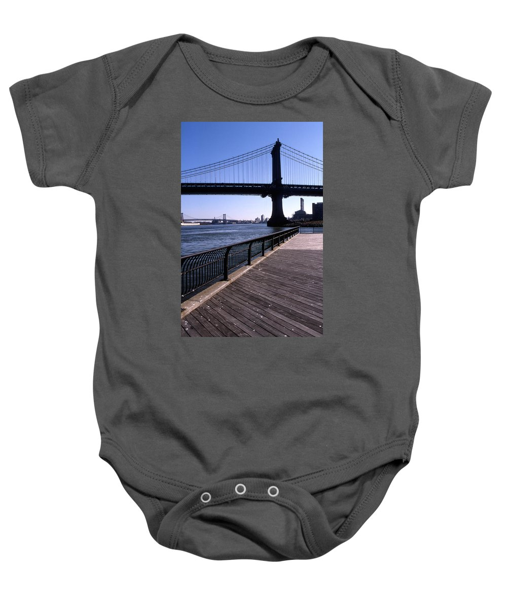 Landscape Manhattan Bridge New York City Baby Onesie featuring the photograph Cnrg0402 by Henry Butz