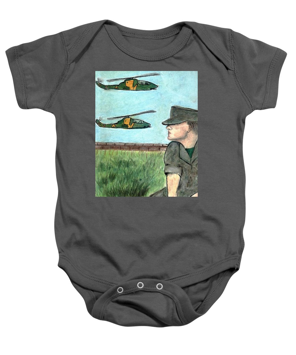 Marine Baby Onesie featuring the drawing Cobra by Melvin Moon