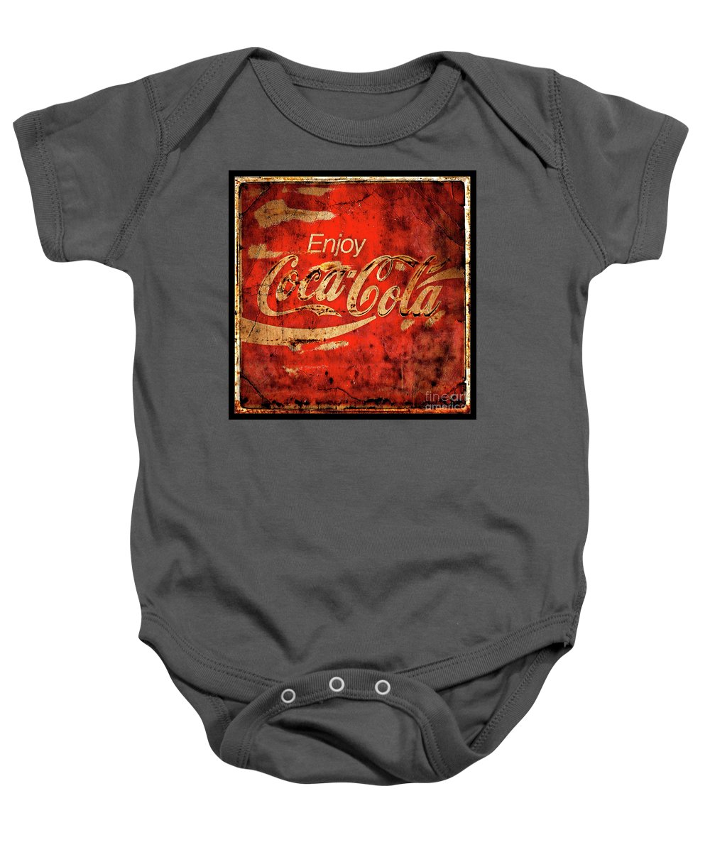 Coca Cola Baby Onesie featuring the photograph Coca Cola Square Aged Texture Black Border by John Stephens