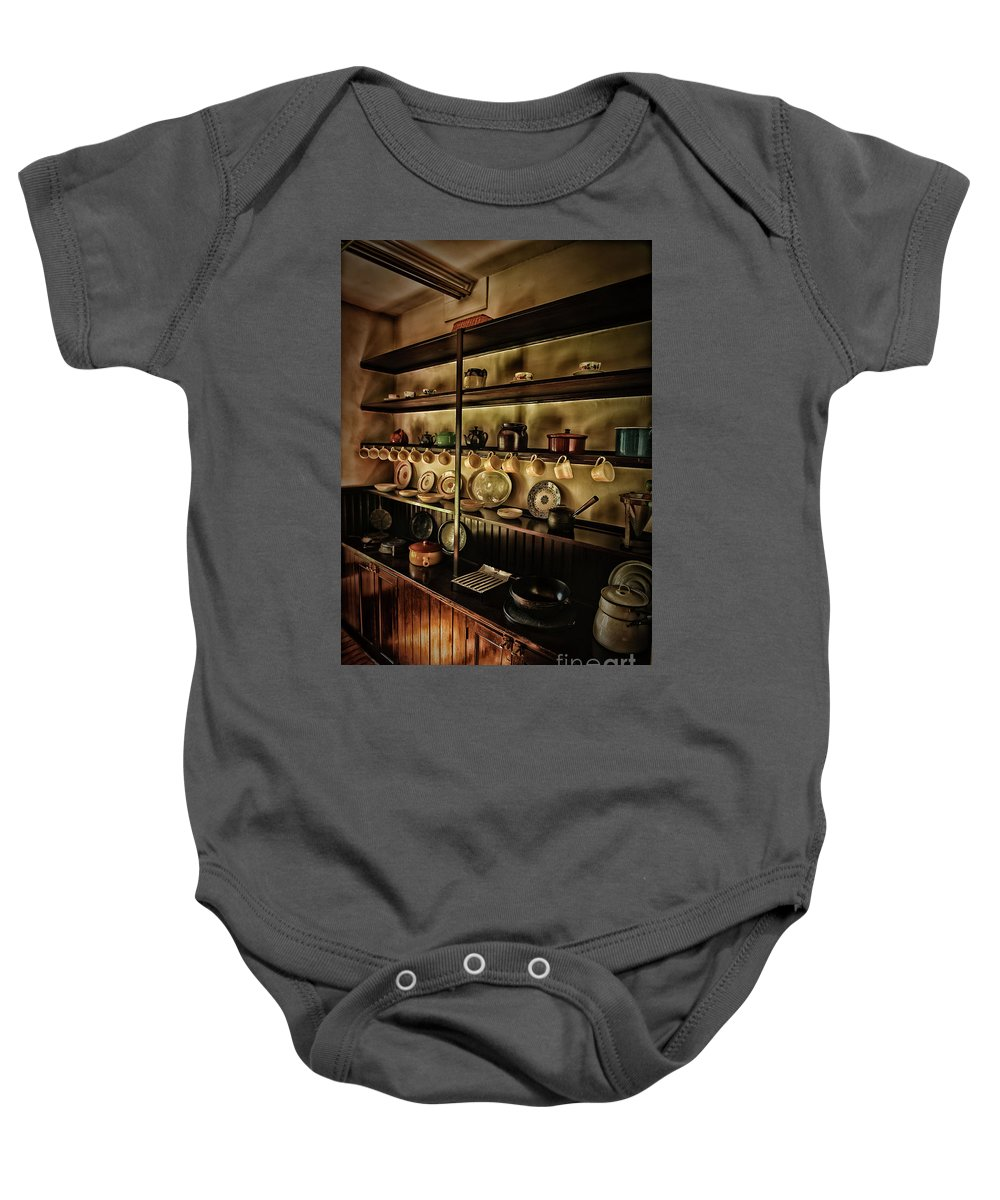 Plates Baby Onesie featuring the photograph Coffee Anyone by Arnie Goldstein