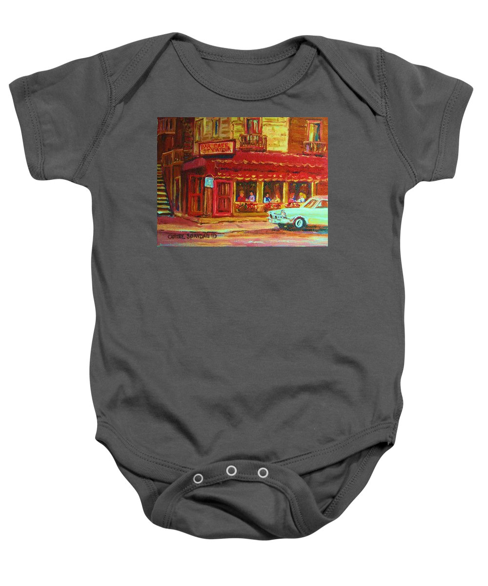 St Baby Onesie featuring the painting Coffee Bar On The Corner by Carole Spandau