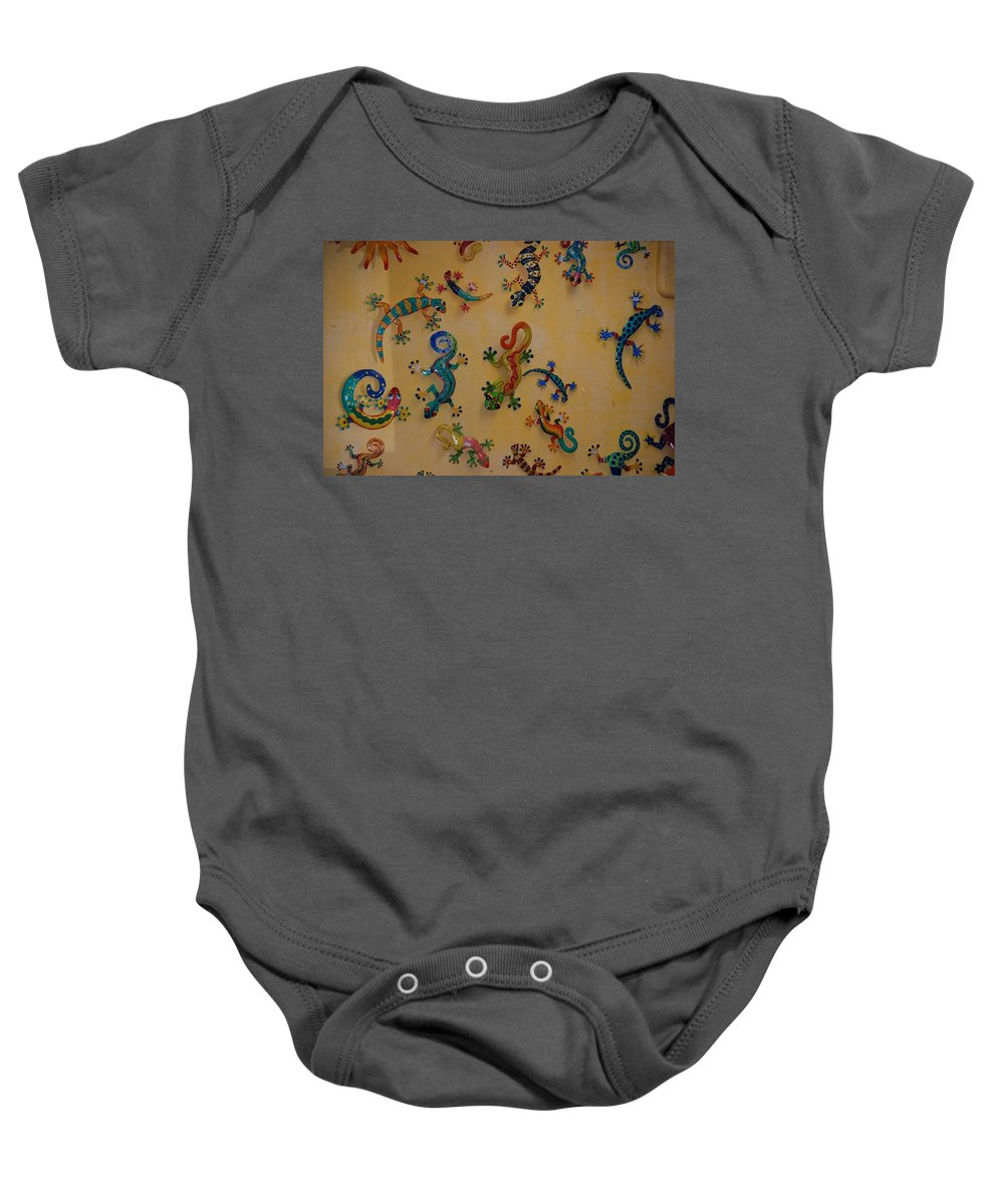 Pop Art Baby Onesie featuring the photograph Color Lizards On The Wall by Rob Hans