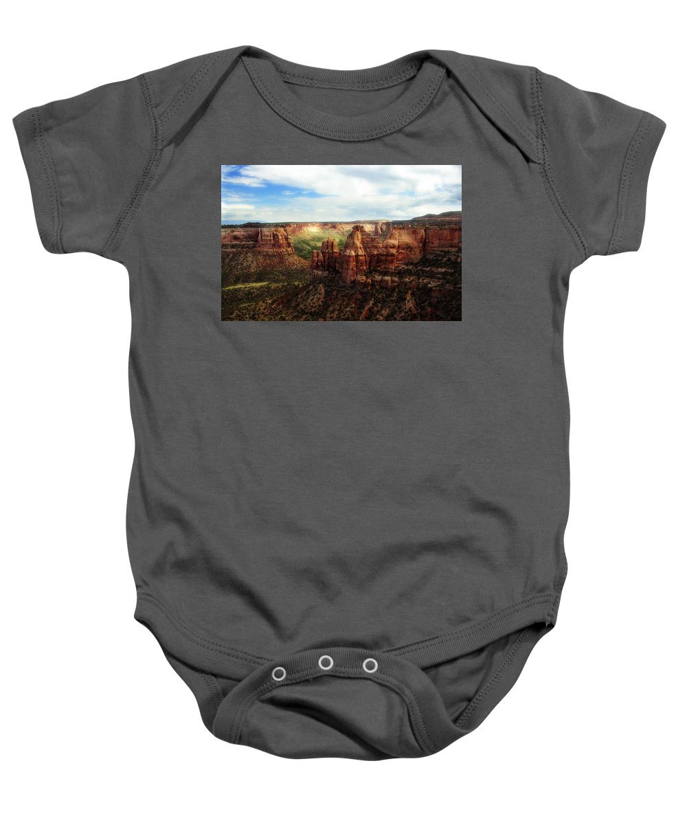 Americana Baby Onesie featuring the photograph Colorado National Monument by Marilyn Hunt