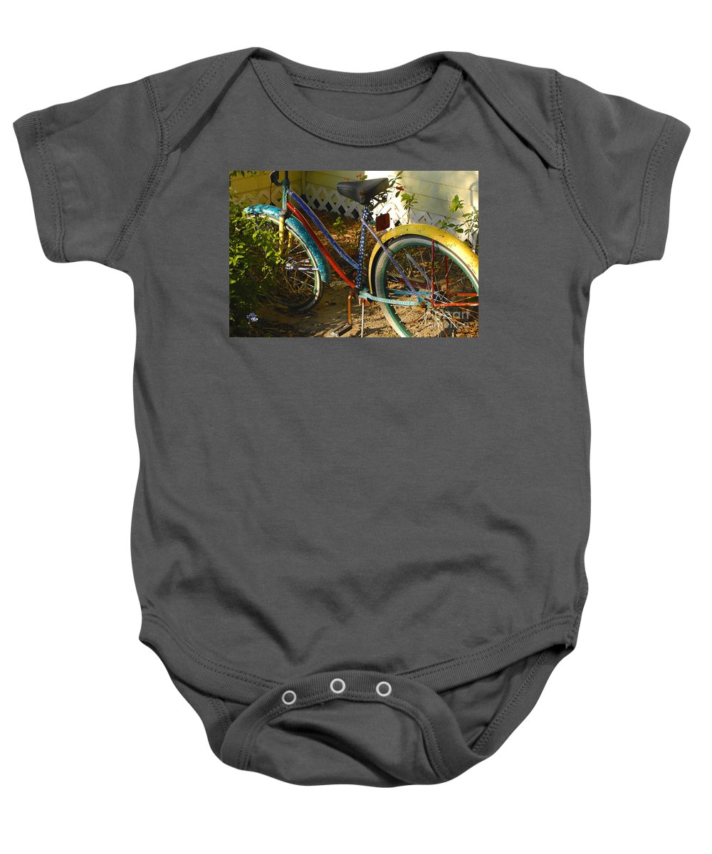 Bicycle Baby Onesie featuring the photograph Colorful Bike by David Lee Thompson