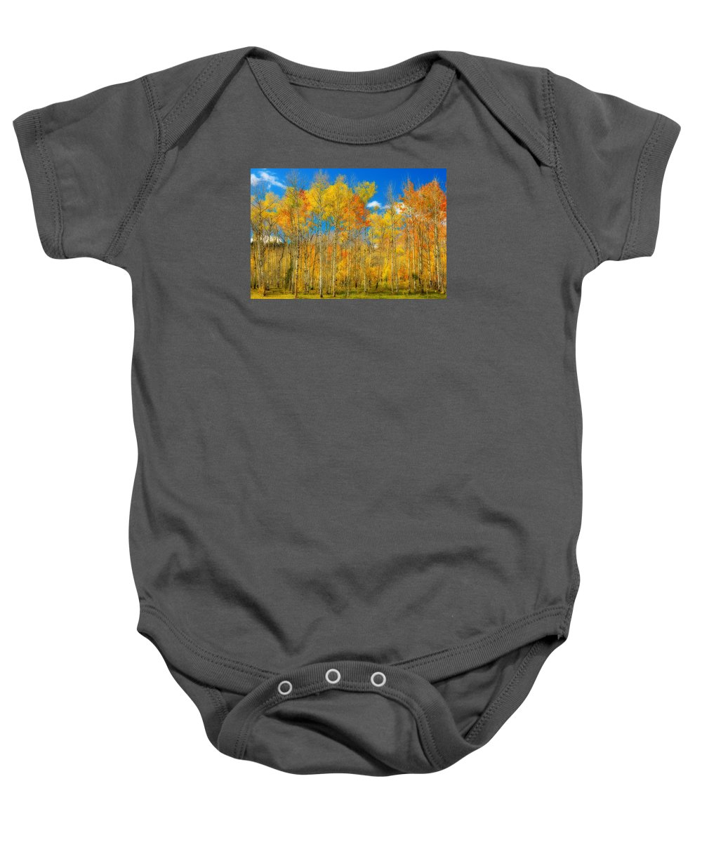 Aspens Baby Onesie featuring the photograph Colorful Colorado Fall Foliage by James BO Insogna
