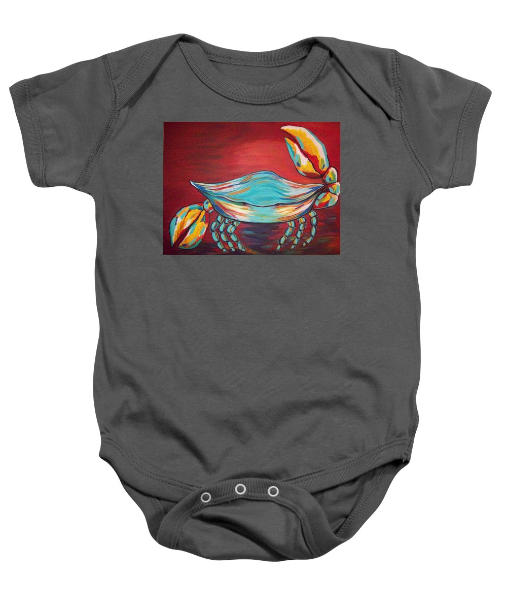 Sealife Baby Onesie featuring the painting Colorful Crab by Angela Miles Varnado
