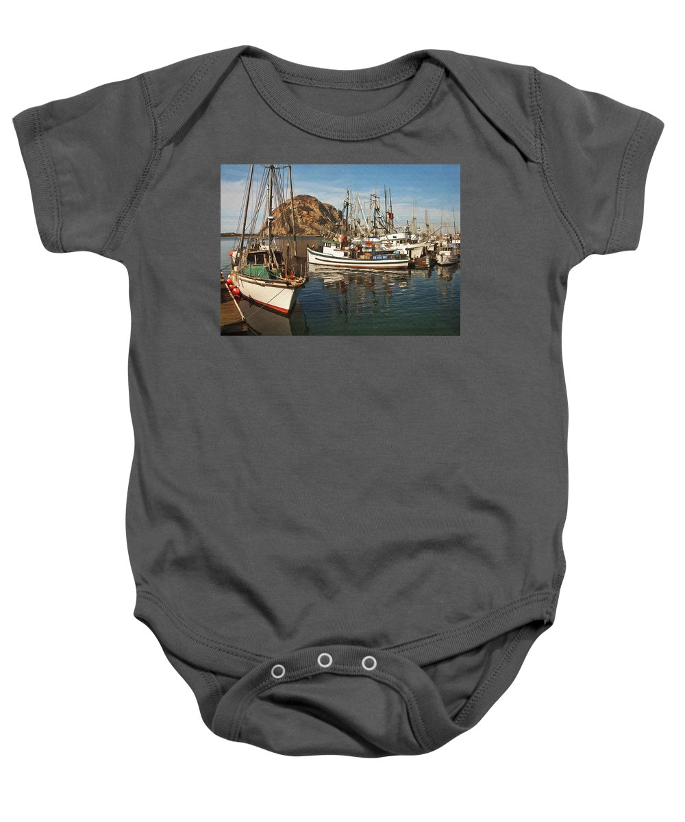 Morro Bay Baby Onesie featuring the digital art Colorful Harbor by Sharon Foster
