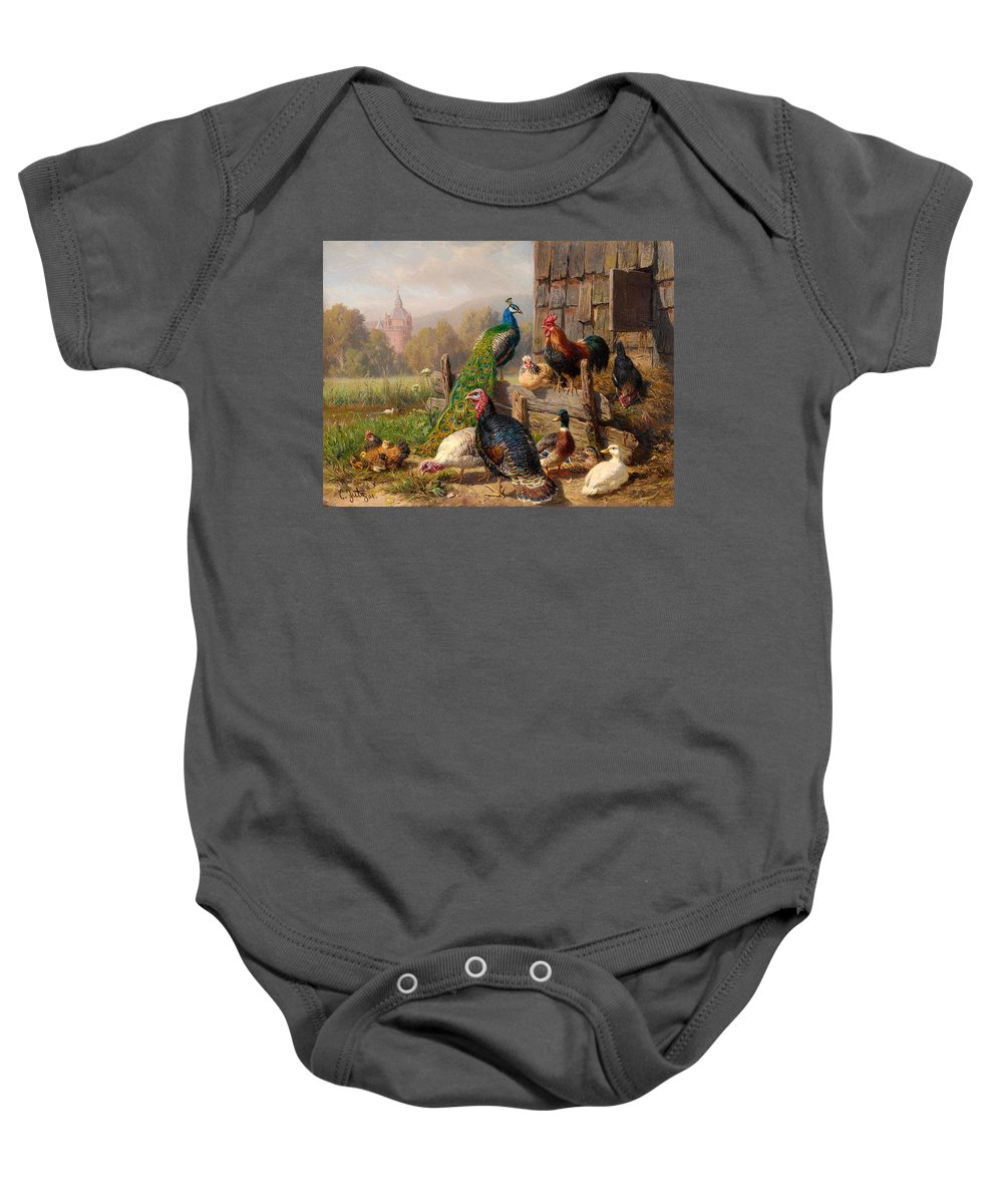Painting Baby Onesie featuring the painting Colorful Poultry by Mountain Dreams