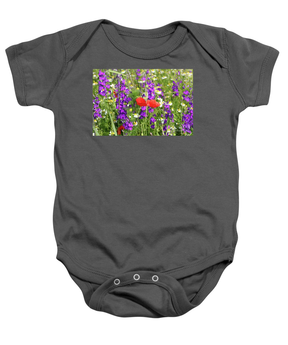 Camomile Baby Onesie featuring the photograph Colorful Spring Wild Flowers by Goce Risteski