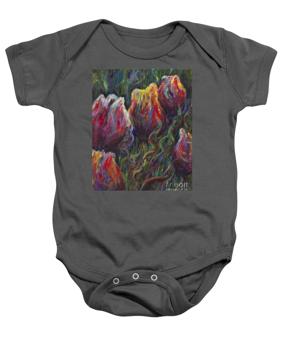 Tulips Baby Onesie featuring the painting Colorful Tulips by Nadine Rippelmeyer