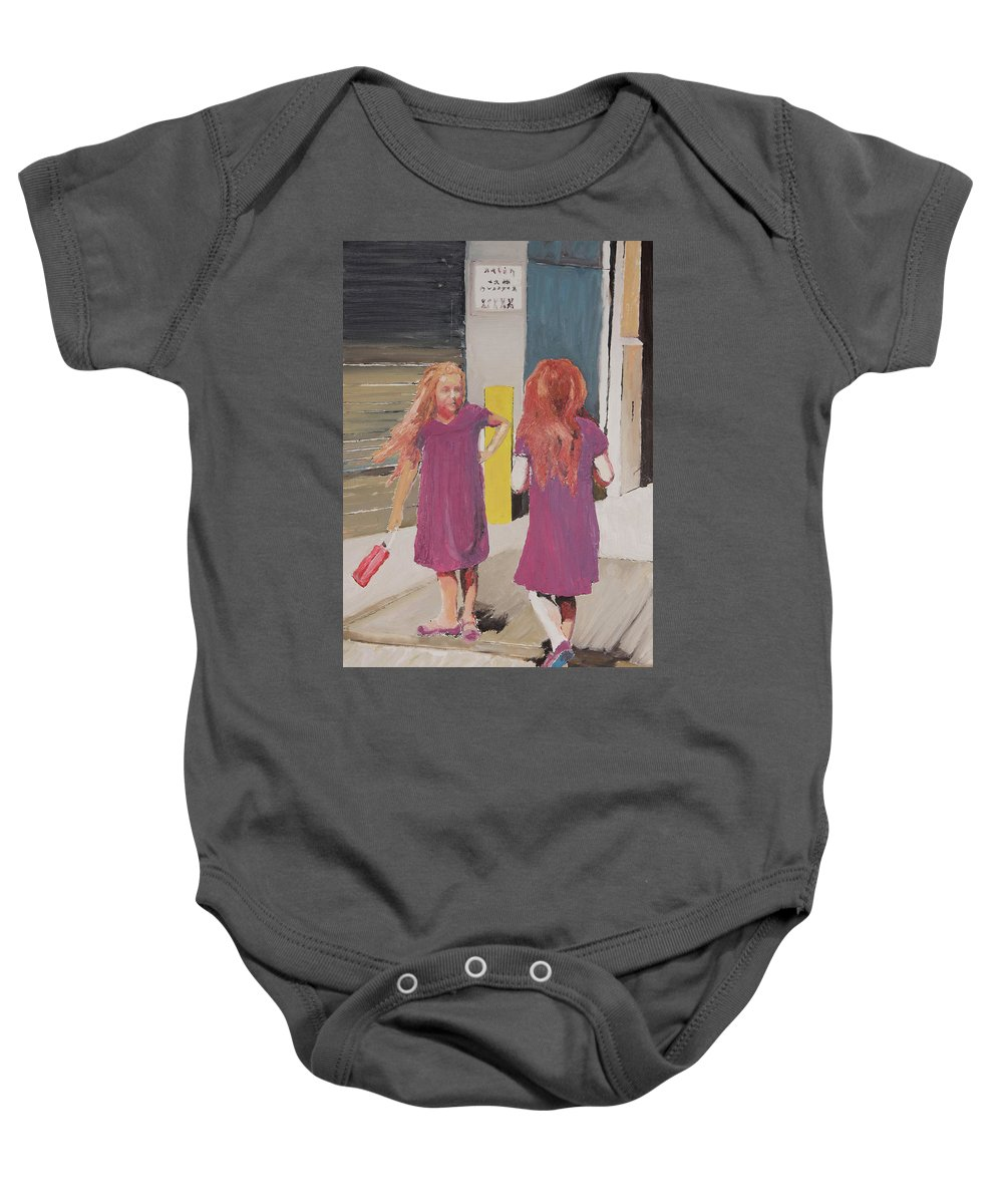 Twins Baby Onesie featuring the painting Colorful Twins by Craig Newland
