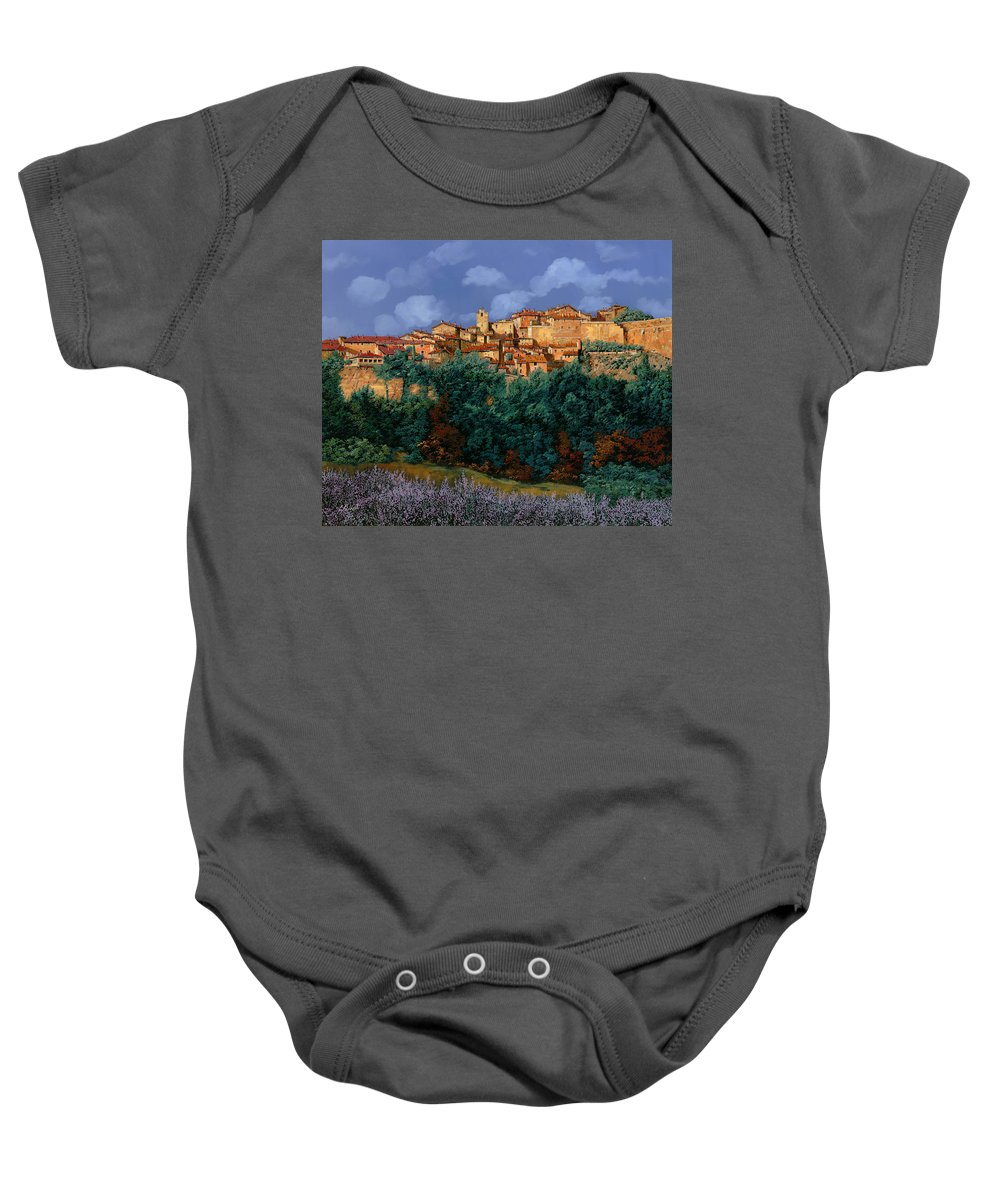 Provence Baby Onesie featuring the painting colori di Provenza by Guido Borelli