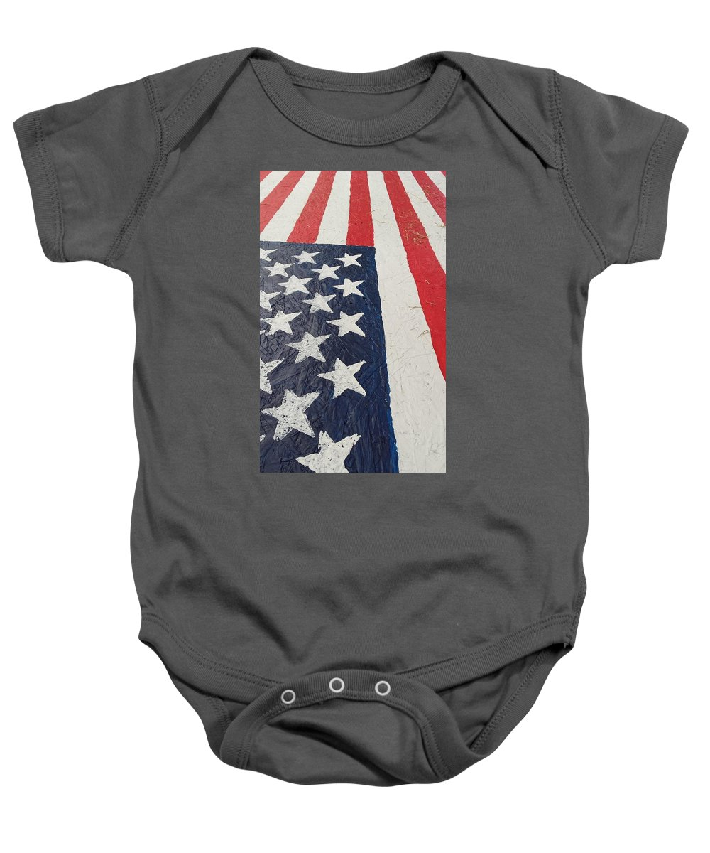 American Flag Red White Blue Patriotic Ole Glory Colors Baby Onesie featuring the photograph Colors Dont Run by Lee Barrett