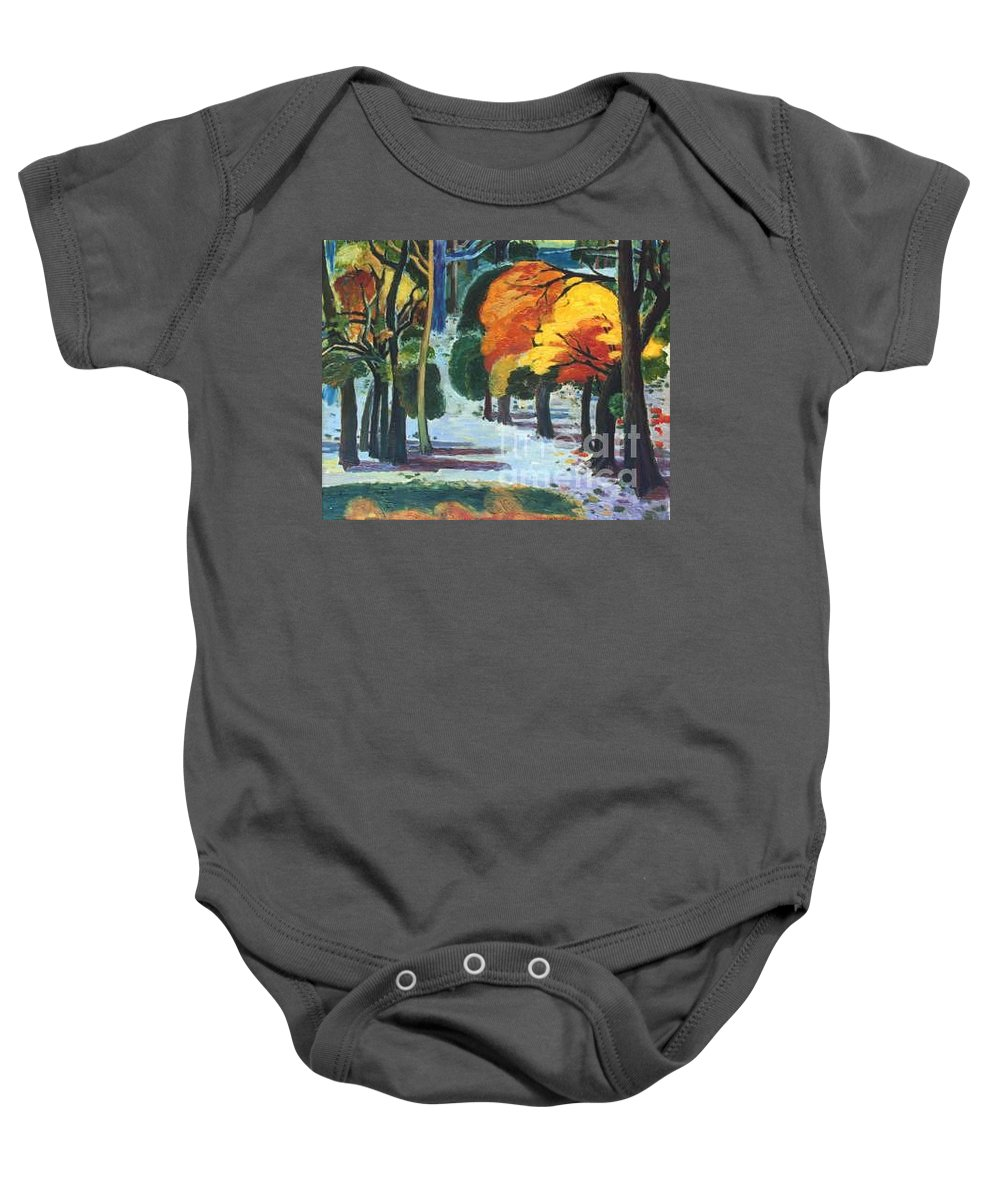 Colors Baby Onesie featuring the painting Colors Of Fall by Meihua Lu
