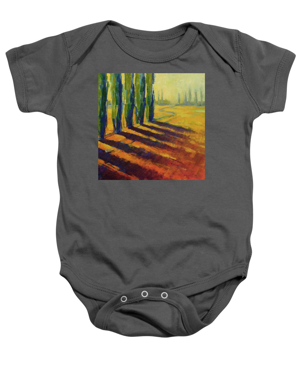 Landscape Baby Onesie featuring the painting Colors Of Summer 4 by Konnie Kim