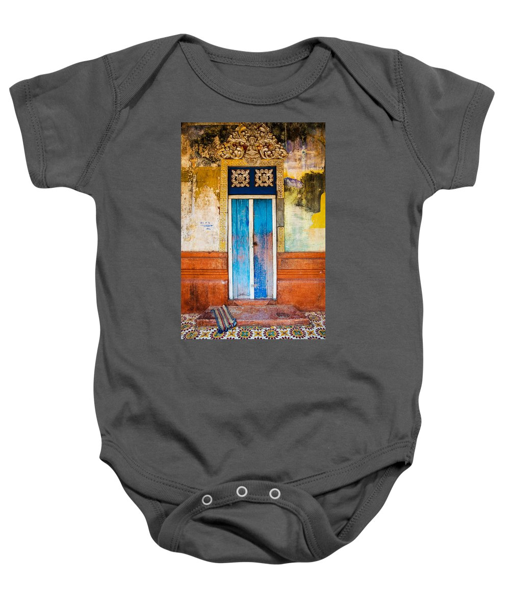 Cambodia Baby Onesie featuring the photograph Colourful Door by Dave Bowman