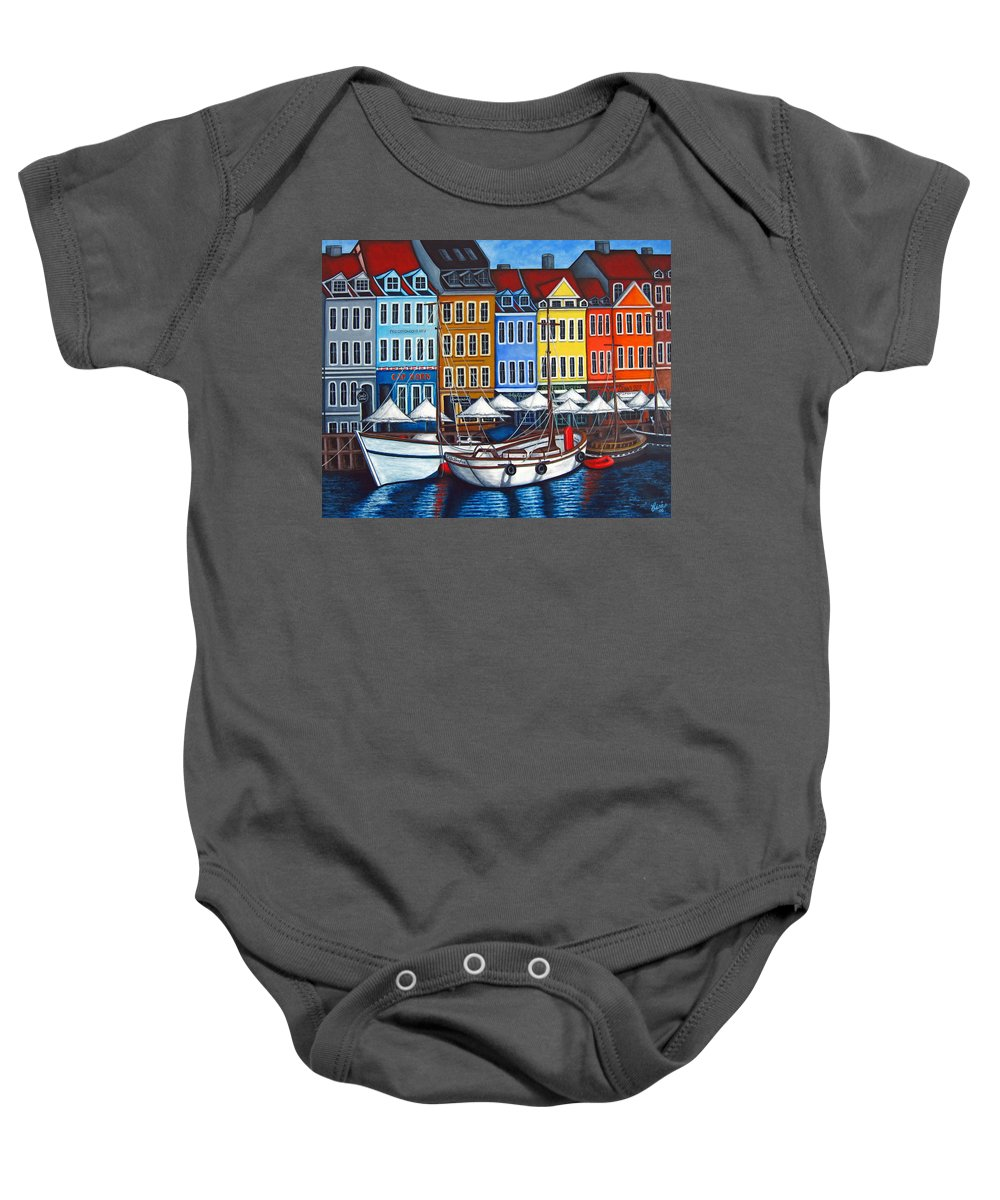 Nyhavn Baby Onesie featuring the painting Colours Of Nyhavn by Lisa Lorenz