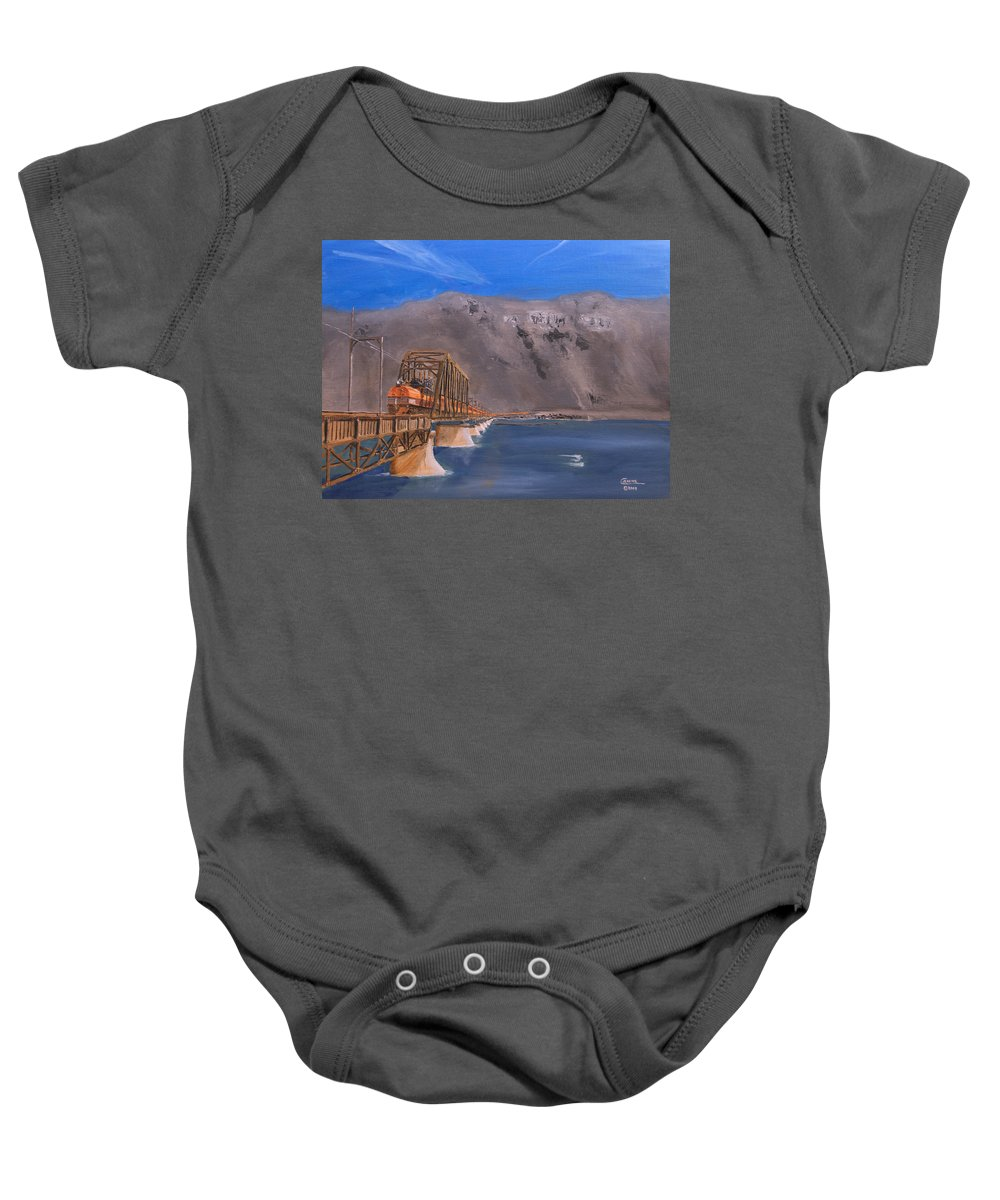 Train Baby Onesie featuring the painting Columbia Crossing by Christopher Jenkins