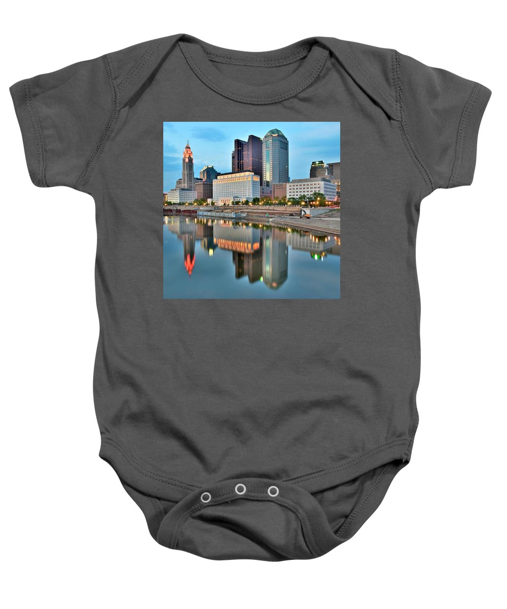 Columbus Baby Onesie featuring the photograph Columbus Squared by Frozen in Time Fine Art Photography