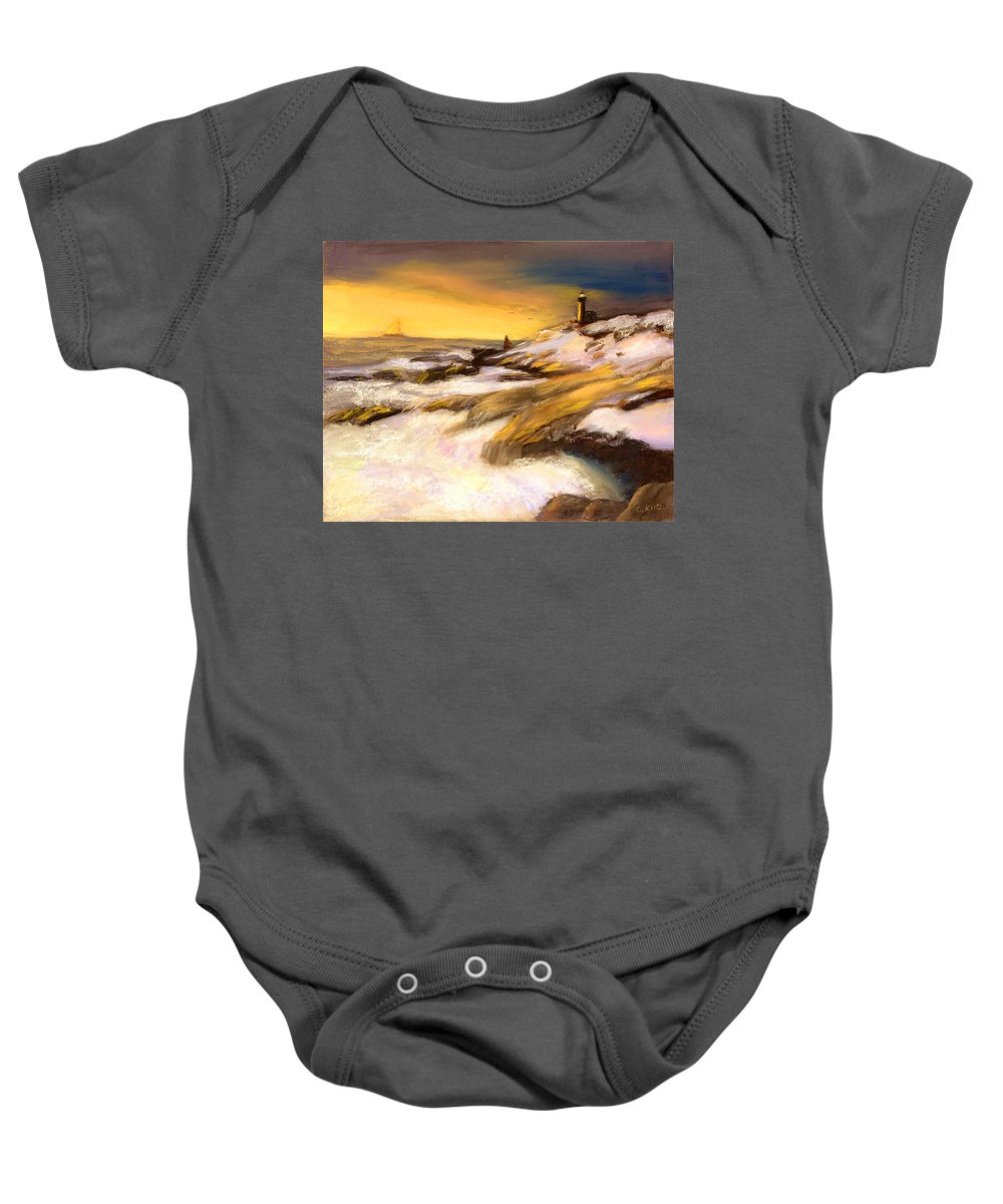 Seascape Baby Onesie featuring the painting Come Home by Gail Kirtz