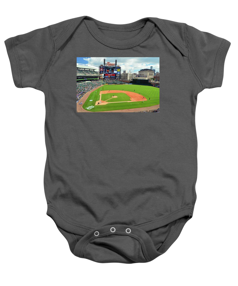 Detroit Baby Onesie featuring the photograph Comerica Park, Home Of The Detroit Tigers by James Kirkikis