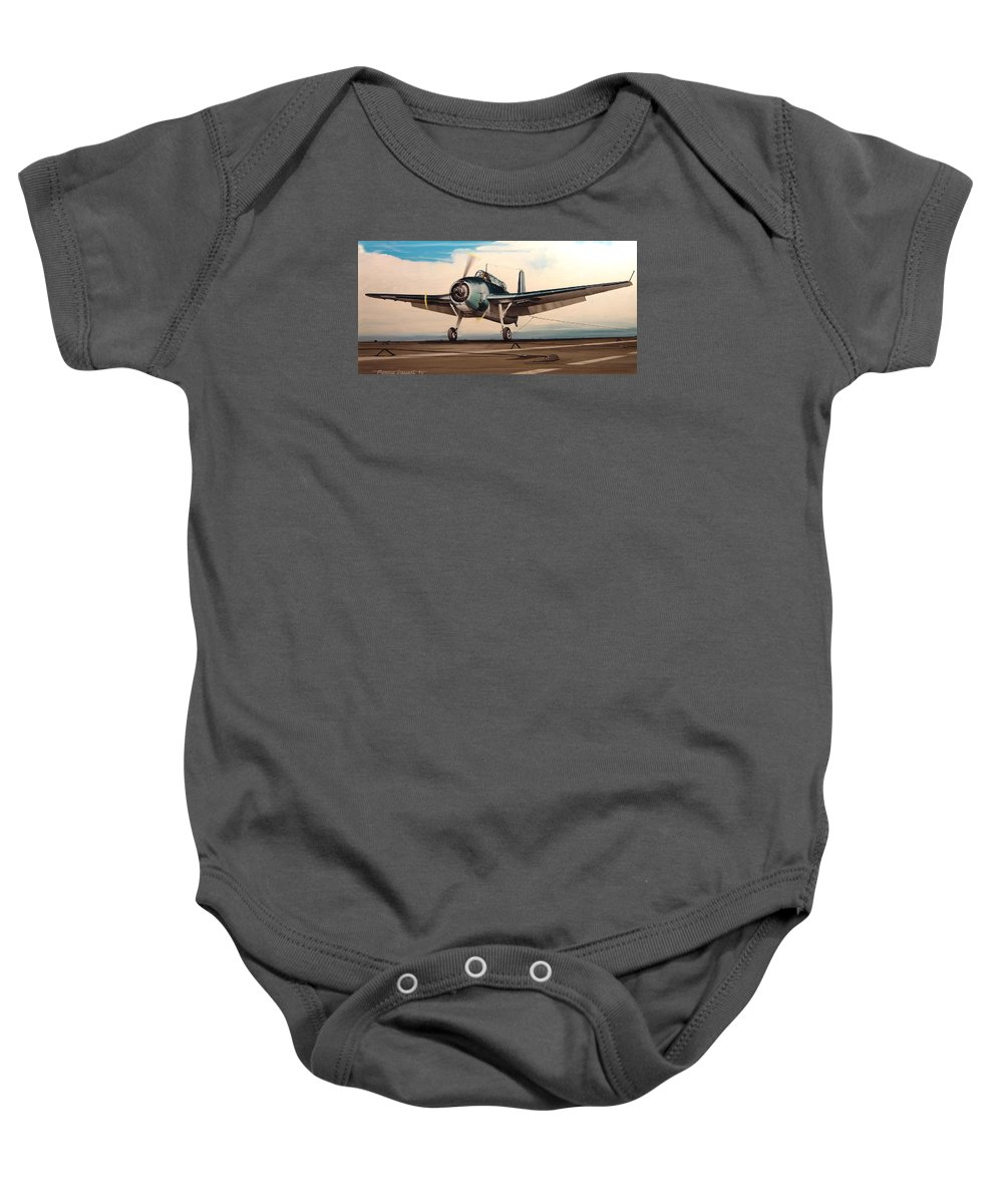 Painting Baby Onesie featuring the painting Coming Aboard by Marc Stewart