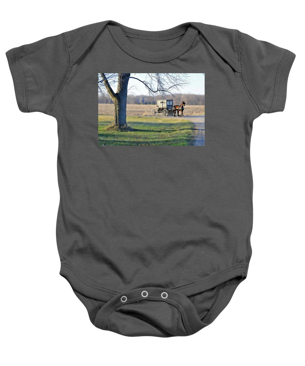 Amish Baby Onesie featuring the photograph Coming Home by David Arment