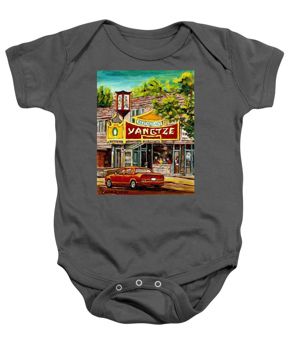 Commissions Baby Onesie featuring the painting Commissioned Building Portraits By Carole Spandau Classically Trained Artist by Carole Spandau