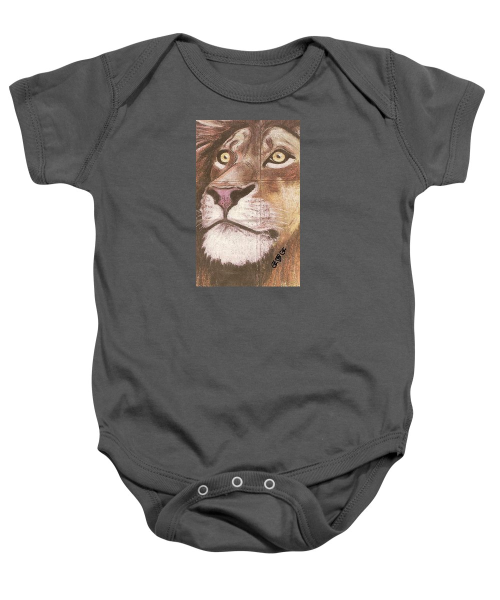 Lions Baby Onesie featuring the painting Concrete Lion by George I Perez