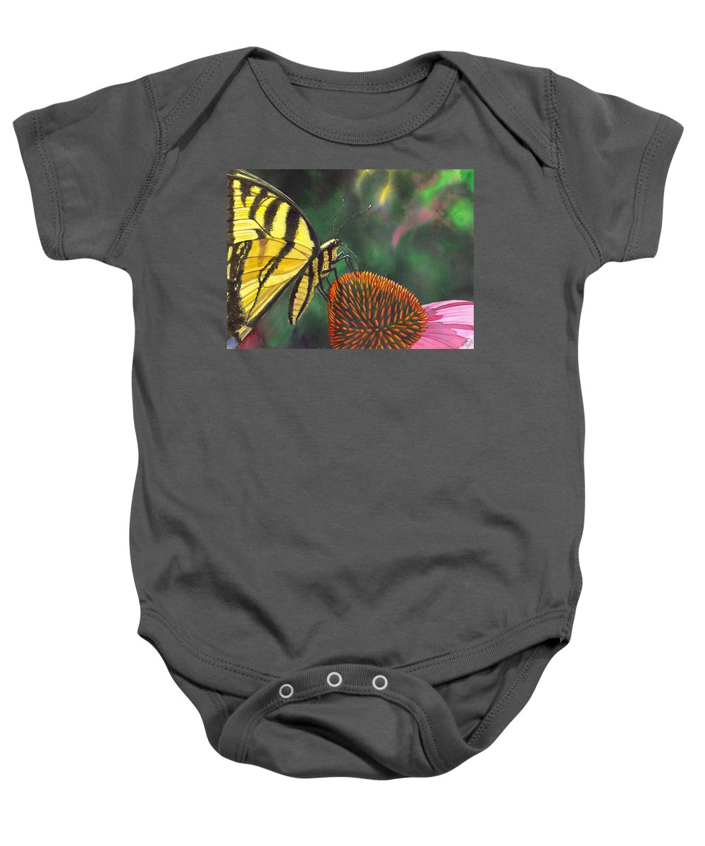 Butterfly Baby Onesie featuring the painting Cone Flower by Catherine G McElroy