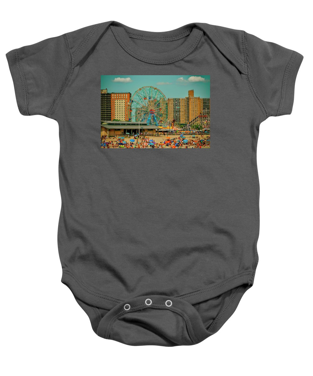 Amusement Park Baby Onesie featuring the photograph Coney Island by Dorival Moreira