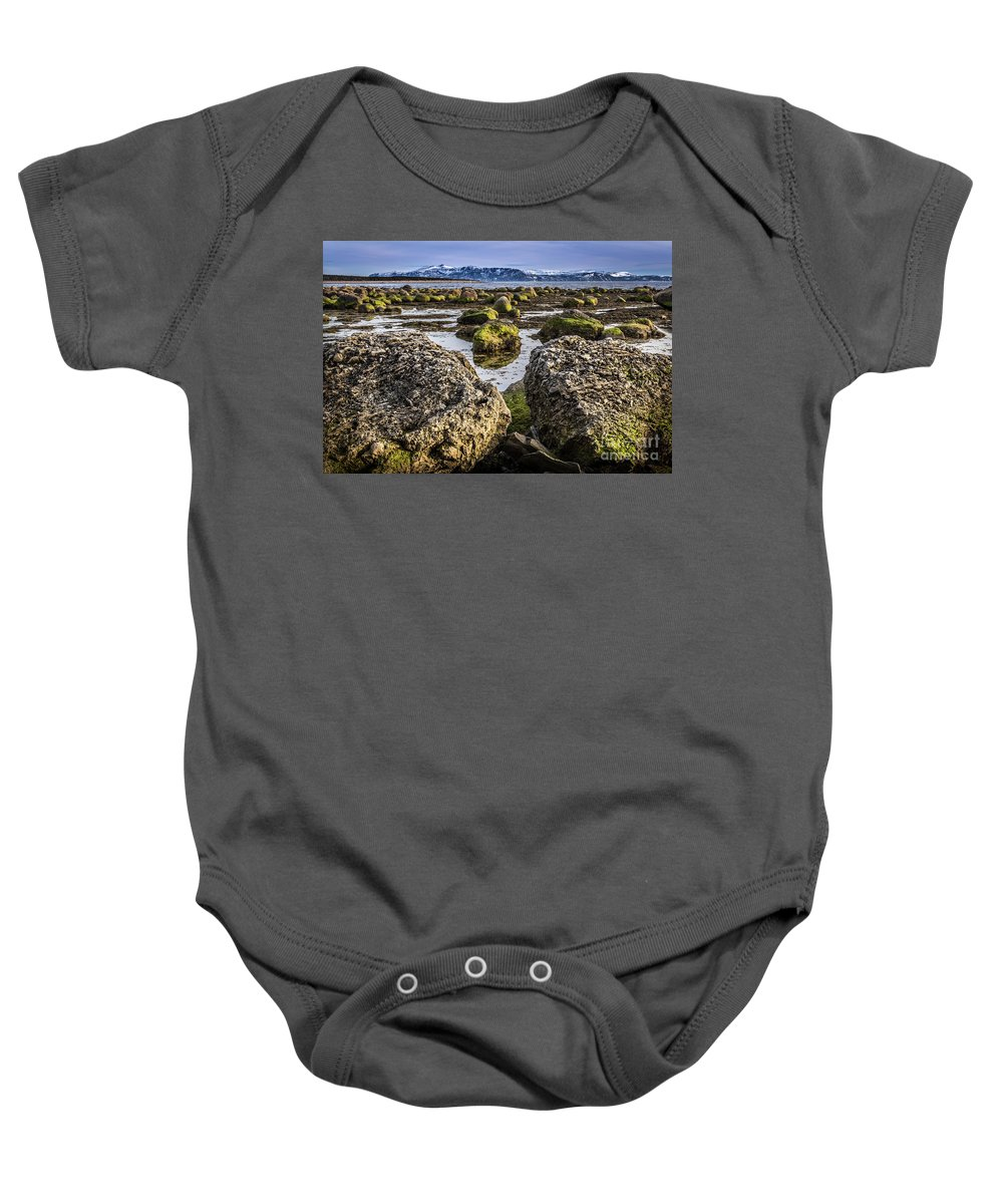 Boulders Baby Onesie featuring the photograph Conglomerate Boulders, Green Point, Nl by Mike Organ