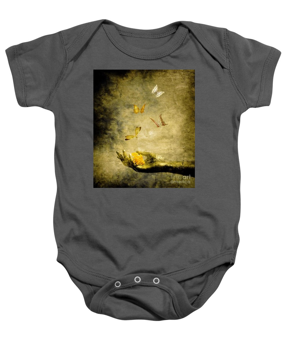 Inspirational Baby Onesie featuring the painting Connect by Jacky Gerritsen