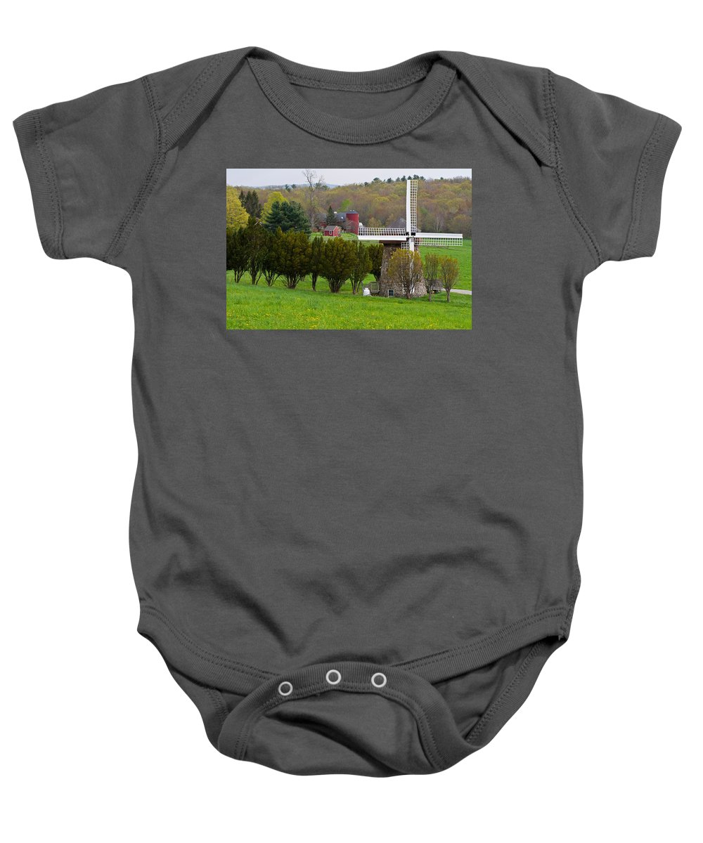 Windmill Baby Onesie featuring the photograph Connecticut Windmill. by David Freuthal