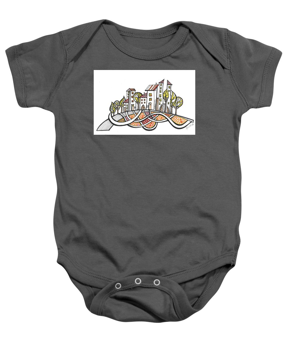 Houses Baby Onesie featuring the drawing Connections by Aniko Hencz