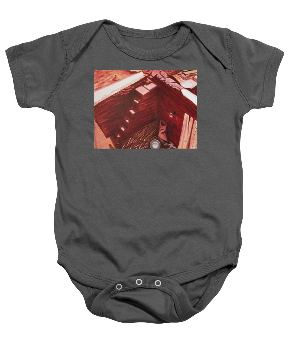 Construction Baby Onesie featuring the painting Constuction Site 1 by Usha Shantharam